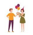 pair of joyful friends celebrating birthday man vector image