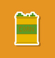 paper sticker on stylish background corn in glass vector image