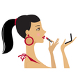Pretty woman applying lipstick vector image vector image