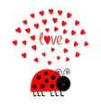 Red smiling lady bug insect with hearts Cute vector image vector image