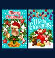 santa gift bag and christmas wreath greeting card vector image vector image