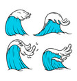 sea waves in engraving style design element vector image vector image