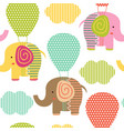 seamless pattern with elephant on air balloon vector image