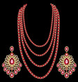set multi-layered rubeads with diamonds and vector image vector image