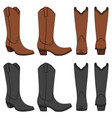 set of color with cowboy boots vector image vector image