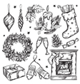Sketch Christmas Gifts Icon Set vector image vector image
