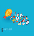 sport integrated 3d web icons growth and progress vector image vector image