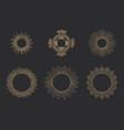 sun rays linear drawings halos set vector image vector image