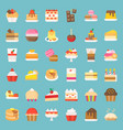sweets and dessert icon set flat style vector image vector image