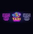 taxi service neon signboard online vector image vector image