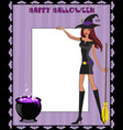 template with cute green eyed witch in short dress vector image vector image