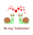 Two funny cartoon snails with hearts vector image vector image