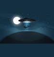 ufo kidnaps a person - cartoon vector image vector image
