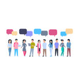 young asian men and women group with chat bubbles