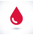 Red color drop icon with gray shadow on white vector image