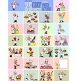 chef characters in 25 poses and actions vector image