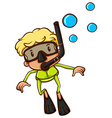 A drawing of a boy snorkeling vector image vector image