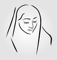 A nun wearing a veil with eyes closed vector image