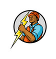 african american electrician lightning bolt mascot vector image vector image