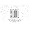 anniversary 90 silver 3d numbers vector image vector image