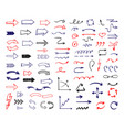 arrows handdrawn colored pen sketch set ribbon vector image