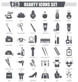 Beauty and cosmetics black icon set Dark vector image