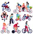 bicycle bikers people character biking on vector image