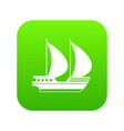 big yacht icon digital green vector image vector image
