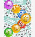 bingo jackpot balls over cards background vector image vector image
