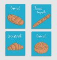 bread baking flour products set of card vector image vector image