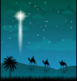 camel riders shining star in the night sky vector image