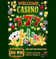 casino gambling game dice chips playing cards vector image