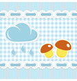 Checked background with mushroom and sun shower vector | Price: 1 Credit (USD $1)