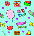 collection various candy doodle style vector image vector image