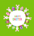 Colorful Easter eggs and bunny around the globe vector image vector image
