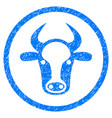 cow head rounded grainy icon vector image vector image