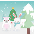 cute bunny and rabbit tree snow landscape merry vector image