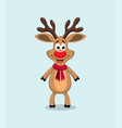 cute cartoon of red nosed reindeer rudolph vector image vector image