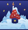 cute winter xmas house children postcard design vector image vector image