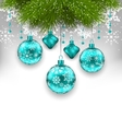 Elegant Xmas Background with Glass Hanging Balls vector image