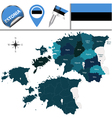 Estonia map with named divisions vector image vector image