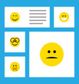 flat icon gesture set of displeased grin vector image vector image