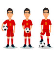 football player in red uniform vector image
