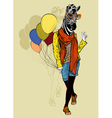 Funny fashion zebra with balloons vector image vector image