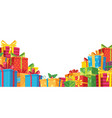 gift banner with pile boxes to celebration vector image
