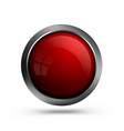 glass red button for web design vector image vector image