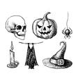hand drawn halloween vintage vector image