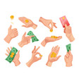 hands holding money set vector image vector image