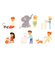 happy children playing feeding and petting vector image vector image