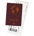 international passport and boarding pass ticket vector image